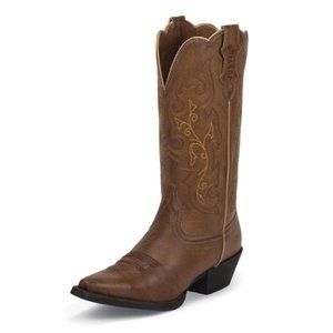 JUSTIN ~ TRACY LEATHER BOOTS ~ 5.5 ~ EMBROIDERY ~